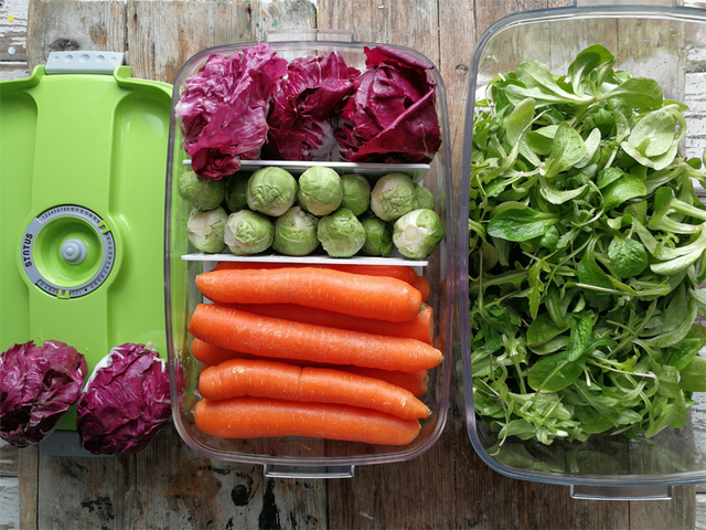 Bez kompromisa oko kvalitete hrane! S pripremom povrća unaprijed i pohranjivanjem u vakuumskim posudama uštedite vrijeme pri pripremi ručka za svoju obitelj, a ne gubite hranljive tvari