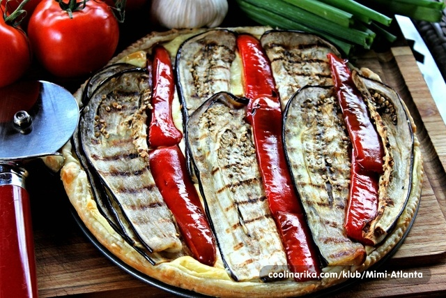 Eggplant-Red Peppers puff...