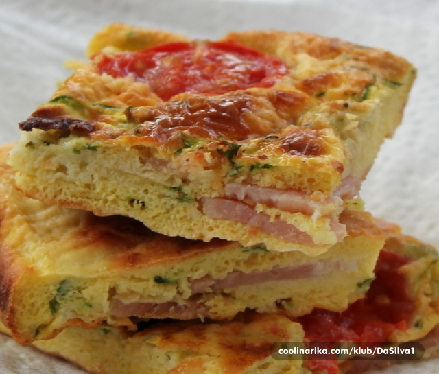 Baked zucchini bacon and tomato frittata fritata s for Courgette and tomato bake bbc