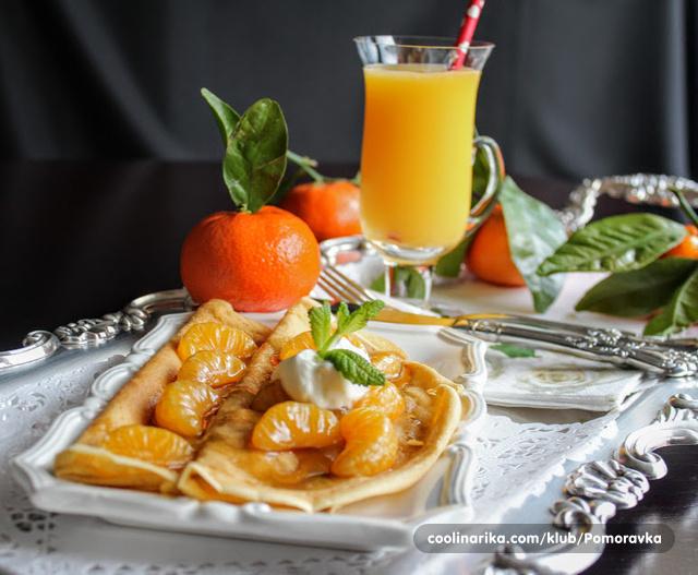 Palačinke sa karamelizovanim mandarinama