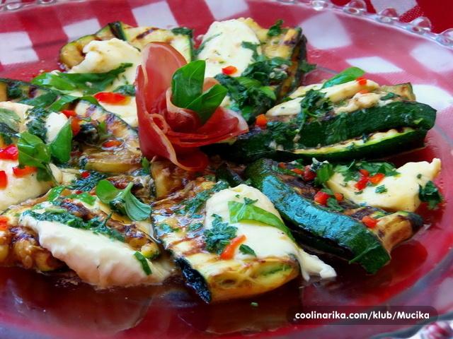 Roštilj salata od tikvica i mozzarelle/antipasti